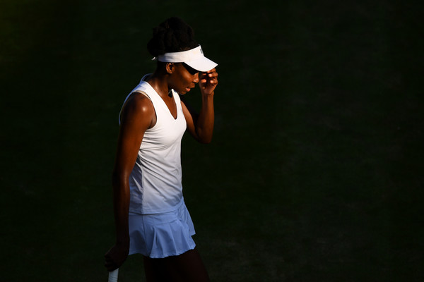Venus Williams of The United States reacts during the Ladies Singles second round match against Qiang Wang of China on day three of the Wimbledon Lawn Tennis Championships at the All England Lawn Tennis and Croquet Club on July 5, 2017 in London, England.