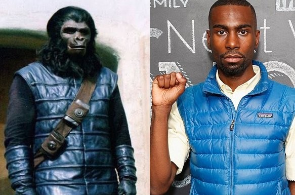 deray mckesson & ape wearing blue jacket
