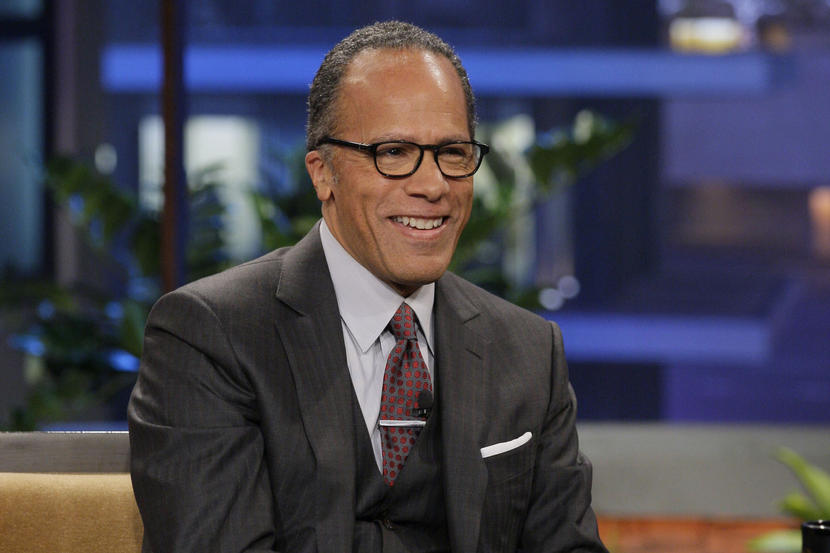 THE TONIGHT SHOW WITH JAY LENO -- Episode 4408 -- Pictured: News anchor Lester Holt during an interview on February 13, 2013 -- (Photo by: Paul Drinkwater/NBC/NBCU Photo Bank via Getty Images)