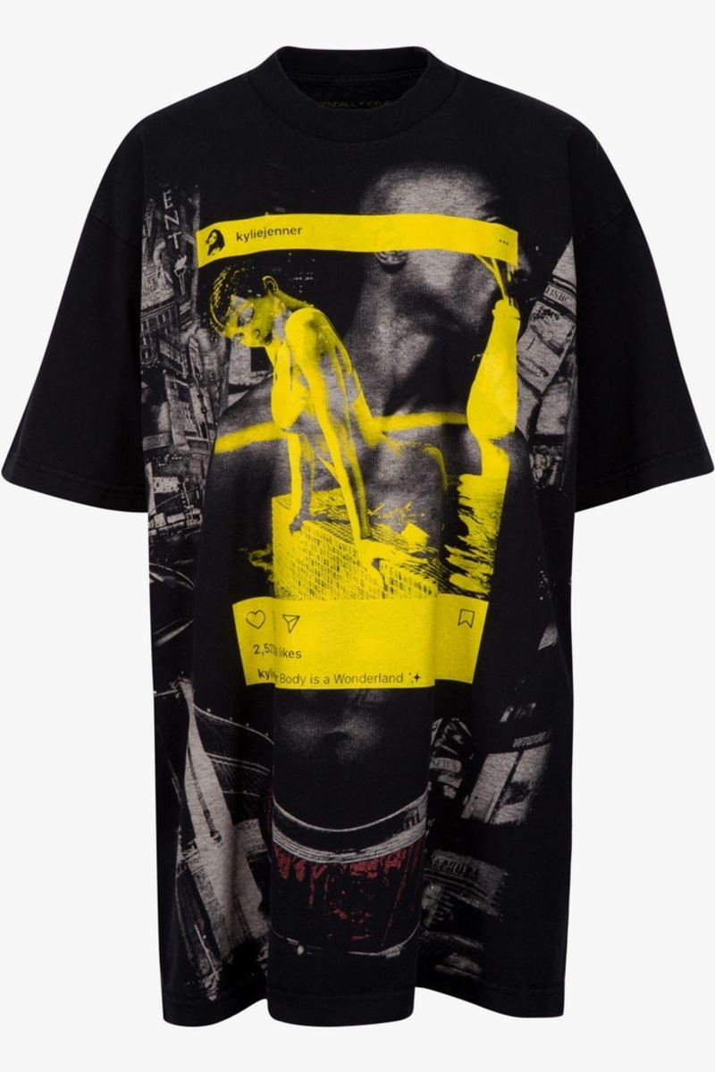 Kylie Jenner's Instagram image superimposed on a photo of Tupac Shakur in Kendall & Kylie line of t-shirts