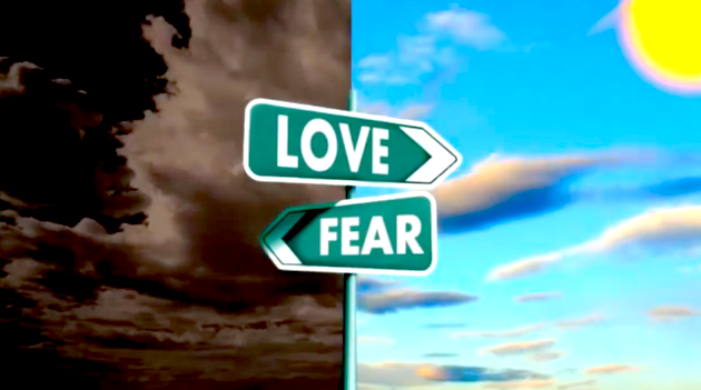 love - fear (direction sign)