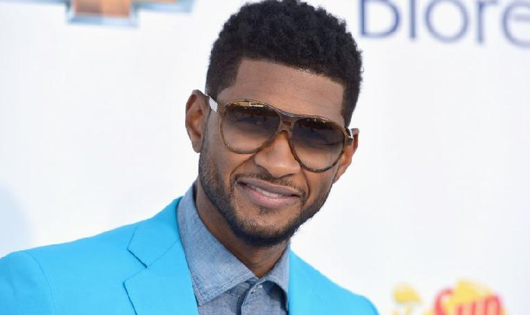 usher - shades - blue jacket