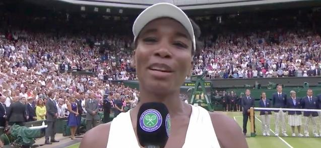 venus williams at wimbledon - with mic