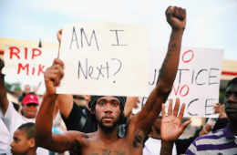 Demonstrators protesting the shooting death of Michael Brown, on Aug. 14, 2014 in Ferguson, Missouri.