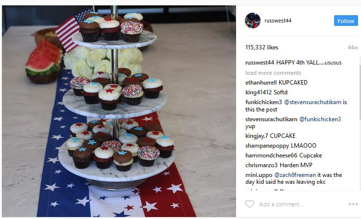 Russell Westbrook's cupcake post