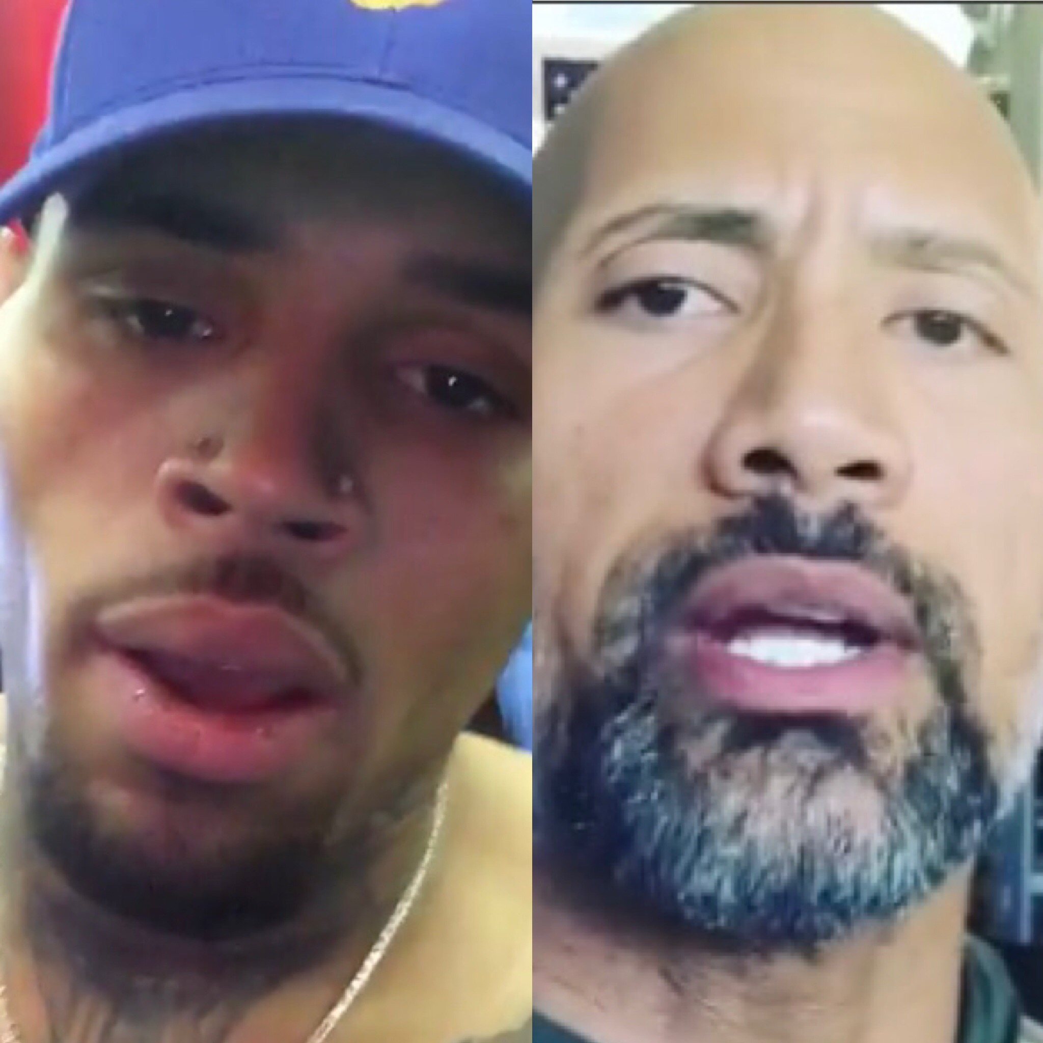 Chris Brown (L) and The Rock