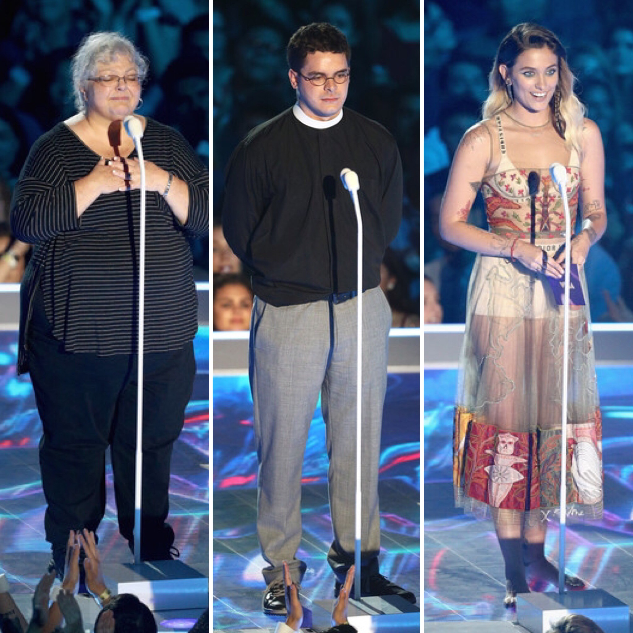 (L-R) Susan Dro, Robert Lee IV, Paris Jackson speak onstage during the 2017 MTV Video Music Awards at The Forum on August 27, 2017 in Inglewood, California.