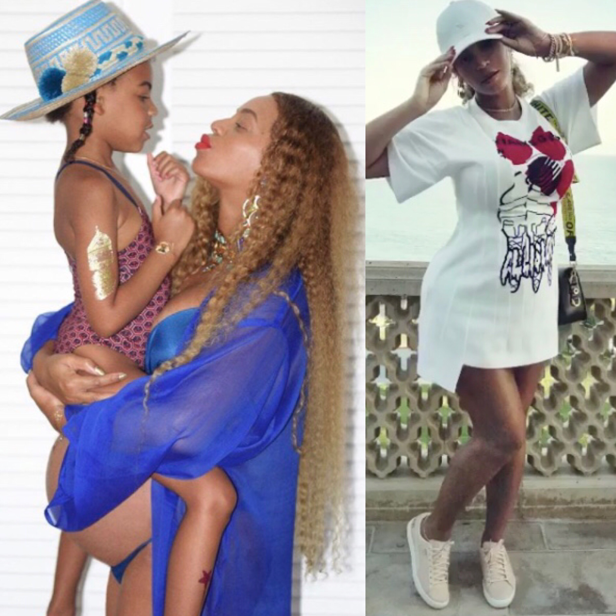 (L) Blue Ivy and Beyonce, (R) Beyonce in 4:44 Puma Sneakers (Instagram)