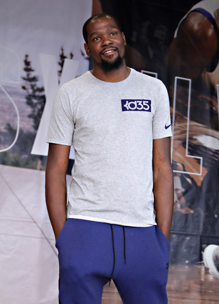 Professional basketball player Kevin Durant speaks to students during the KD Build It and They Will Ball court ceremony on July 24, 2017 in New York City.