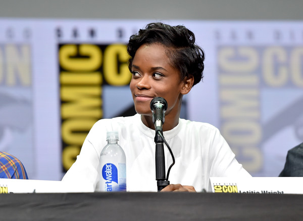 Actor Letitia Wright from Marvel Studios' 'Black Panther' at the San Diego Comic-Con International 2017 Marvel Studios Panel in Hall H on July 22, 2017 in San Diego, California.