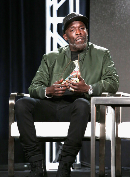 Actor Michael K. Williams of 'Hap and Leonard: Mucho Mojo' speaks onstage during the SundanceTV portion of the 2017 Winter Television Critics Association Press Tour at Langham Hotel on January 13, 2017 in Pasadena, California.