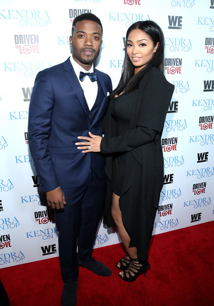 "Singer Ray J (L) and designer Princess Love attend WE tv's premiere of ""Kendra On Top"" and ""Driven To Love"" at Estrella Sunset on March 31, 2016 in West Hollywood, California."
