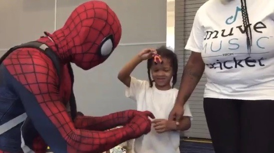 Spidey greets kids at the George R. Brown Emergency Center in Houston (Aug. 29, 2017)