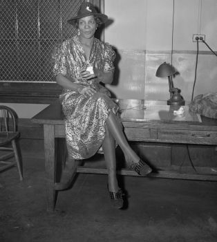 """18 Jan 1938, Harlem, Manhattan, New York, New York, USA --- Stephanie St. Clair Hamid, who several years ago was known as """"Madame Queen"""" of Harlem's policy number rackets held on charges of using her estranged husband for a target. --- Image by © Bettmann/CORBIS"""