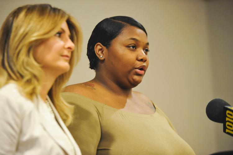 Quantasia Sharpton (R) with her attorney Lisa Bloom in NYC (Aug 7, 2017)