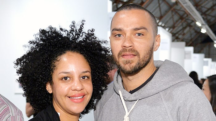 Aryn Drake-Lee and Jesse Williams attend the Art Los Angeles Contemporary 2016 Opening Night at Barker Hangar in Santa Monica on January 28, 2016.