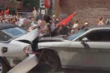 car crashes into crowd - virginia