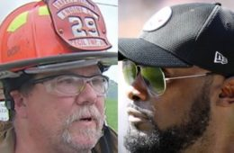 Paul Smith, the chief of Cecil Volunteer Fire Station No. 2 in Washington County, Pa. (L) and Pittsburgh Steelers head coach Mike Tomlin
