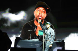 Ali Shaheed Muhammad in front of an image of the late Phife Dawg of A Tribe Called Quest perform their last ever UK show as headlining act on The Castle stage on Day 3 of Bestival at Lulworth Castle on September 9, 2017 in Wareham, England.