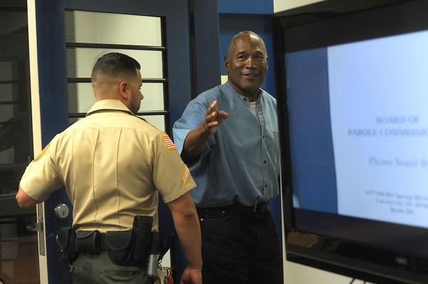 O.J. Simpson attends a parole hearing at Lovelock Correctional Center July 20, 2017 in Lovelock, Nevada. Simpson is serving a nine to 33 year prison term for a 2007 armed robbery and kidnapping conviction.