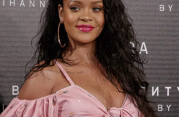 Singer Rihanna attends the 'Fenty Beauty' photocall at Callao cinema on September 23, 2017 in Madrid, Spain.