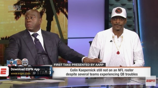 """Magic Johnson (L) and Snoop Dogg on ESPN's """"First Take"""" (Sept. 12, 2017)"""