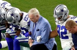 Dallas Cowboys, including owner Jerry Jones, link arms, kneel ahead of anthem