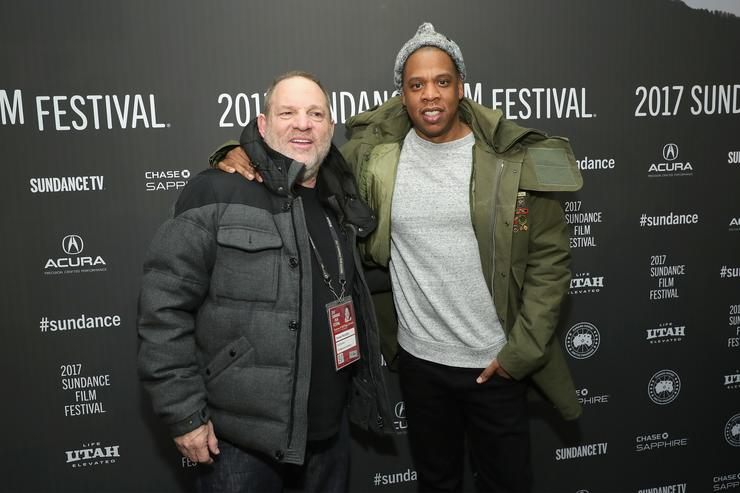 Executive Producer Harvey Weinstein and JAY-Z attend the TIME: The Kalief Browder Story Sundance World Premiere. January 25, 2017.   Photo by Neilson Barnard/Getty Images for Spike TV