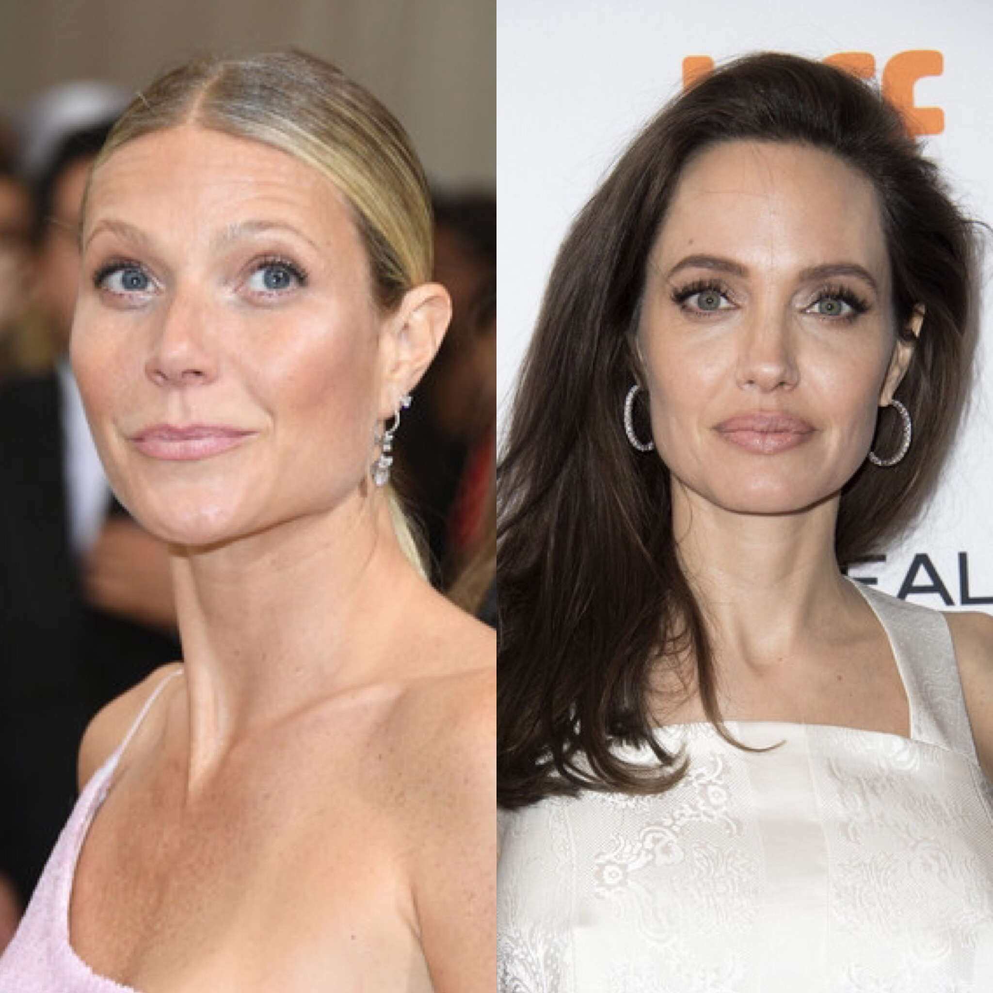 Gwenyth Paltrow (L) and Angelina Jolie