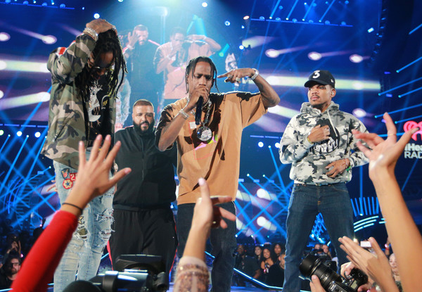 Quavo, DJ Khaled, Travis Scott, and Chance The Rapper perform onstage during the 2017 iHeartRadio Music Festival at T-Mobile Arena on September 23, 2017 in Las Vegas, Nevada.