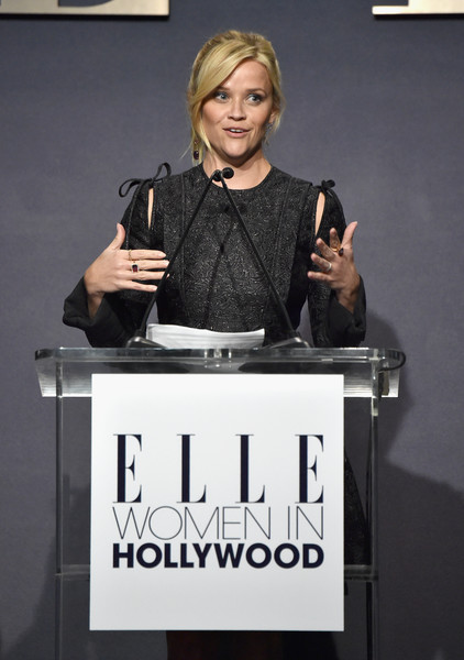 Reese Witherspoon speaks onstage during ELLE's 24th Annual Women in Hollywood Celebration presented by L'Oreal Paris, Real Is Rare, Real Is A Diamond and CALVIN KLEIN at Four Seasons Hotel Los Angeles at Beverly Hills on October 16, 2017 in Los Angeles, California.