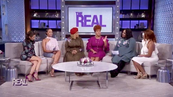 "Erica and Tina Campbell (Center) on ""The Real"""