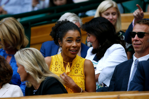 Sophie Okonedo looks on from the centre court royal box on day ten of the Wimbledon Lawn Tennis Championships at the All England Lawn Tennis and Croquet Club at Wimbledon on July 13, 2017 in London, England.