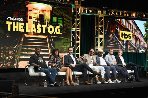 (L-R) Executive producer/actor Tracy Morgan, actors Tiffany Haddish, Ryan Gaul, Allen Maldonado, Cedric the Entertainer, Executive producers John Carcieri and Eric Tennenbaum of 'The Last O.G.' speak onstage during the TCA Turner Summer Press Tour 2017 Presentation at The Beverly Hilton Hotel on July 27, 2017 in Beverly Hills, California.