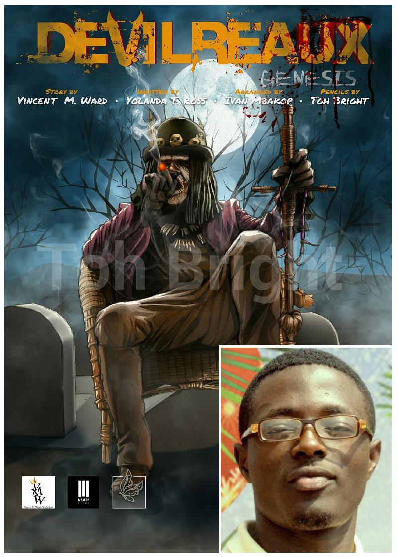Toh Bright (insert) and his Comic cover Illustration