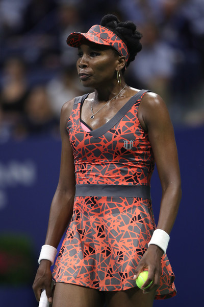 Venus Williams of the United States looks on against Petra Kvitova of Czech Republic during her Women's Singles Quarterfinal match on Day Nine of the 2017 US Open at the USTA Billie Jean King National Tennis Center on September 5, 2017 in the Flushing neighborhood of the Queens borough of New York City.