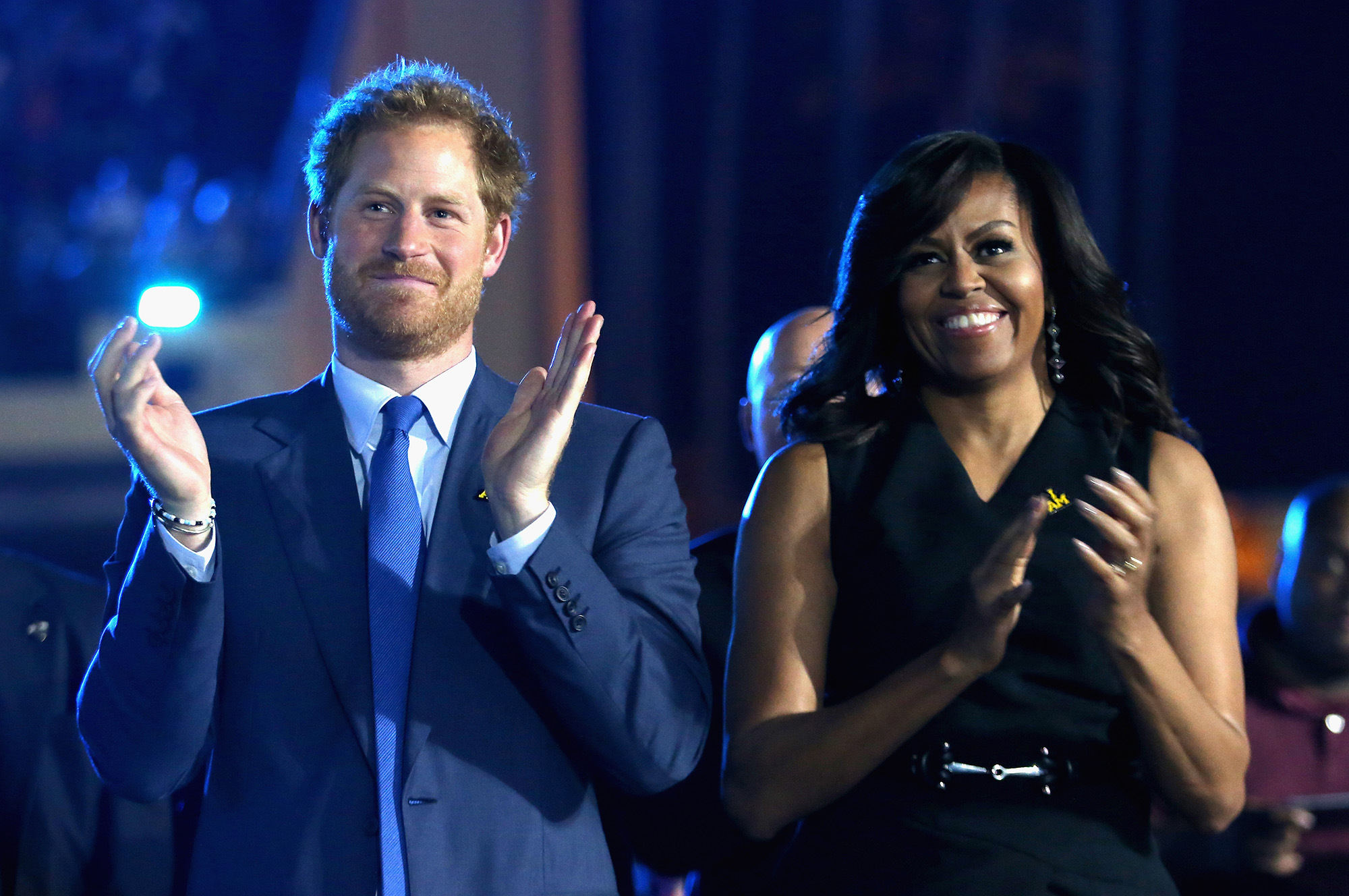 ORLANDO FL- MAY 08 Prince Harry and Michelle Obama cheer during the Opening Ceremony of the Invictus Games Orlando 2016 at ESPN Wide World of Sports