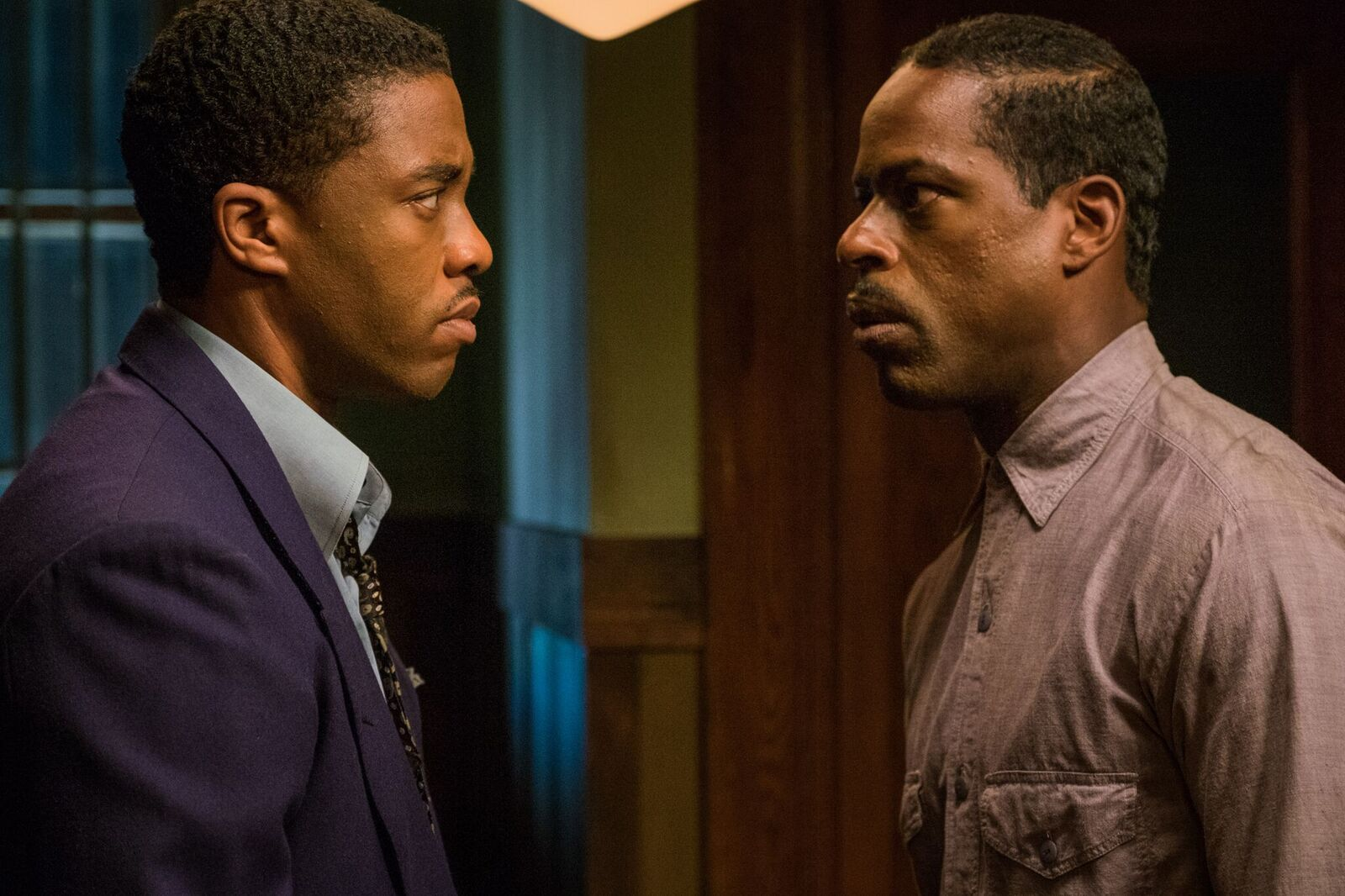 """Chadwick Boseman (L) and Sterling K. Brown in """"Marshall"""" (Open Road Films)"""