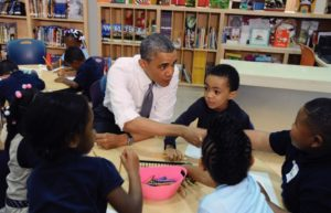 President Barak Obama visits with pre-kindergarden students at Moravia Park Elementary School. (Kenneth K. Lam/Baltimore Sun)