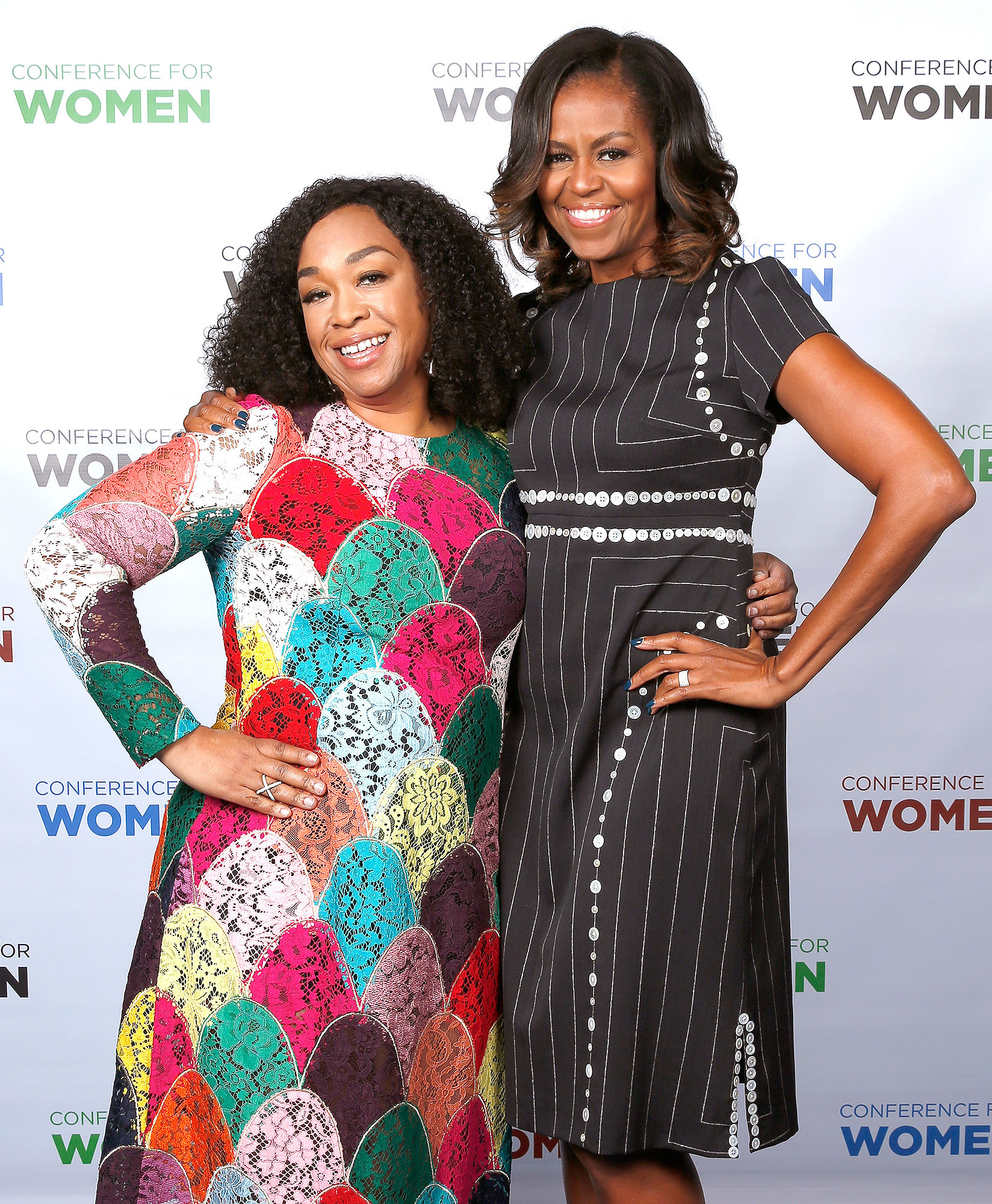 PHILADELPHIA, PA - OCTOBER 03:  Screenwriter, director and producer Shonda Rhimes and Former First Lady of the United States Michelle Obama pose for a photo together during Pennsylvania Conference For Women 2017 at Pennsylvania Convention Center on October 3, 2017 in Philadelphia, Pennsylvania.  (Photo by Marla Aufmuth/Getty Images for Pennsylvania Conference for Women)