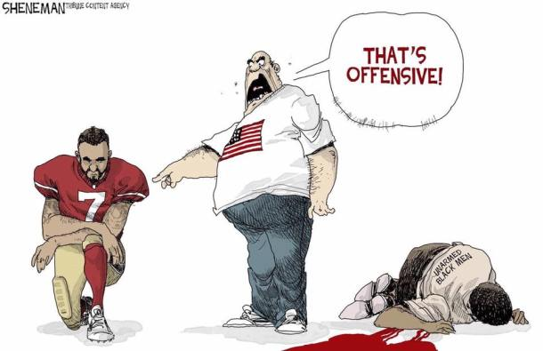 cartoon - taking a knee