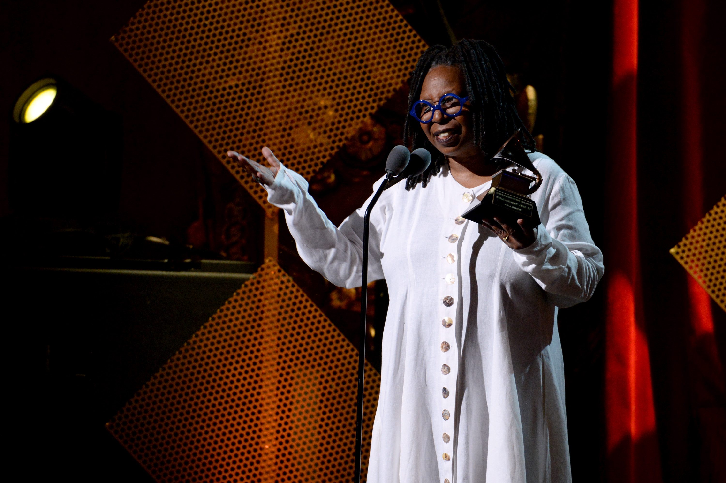 NEW YORK, NY - JULY 11:  Whoopi Goldberg speaks onstage during the GRAMMY Salute to Music Legends at Beacon Theatre on July 11, 2017 in New York City.  (Photo by Michael Kovac/Getty Images for NARAS)