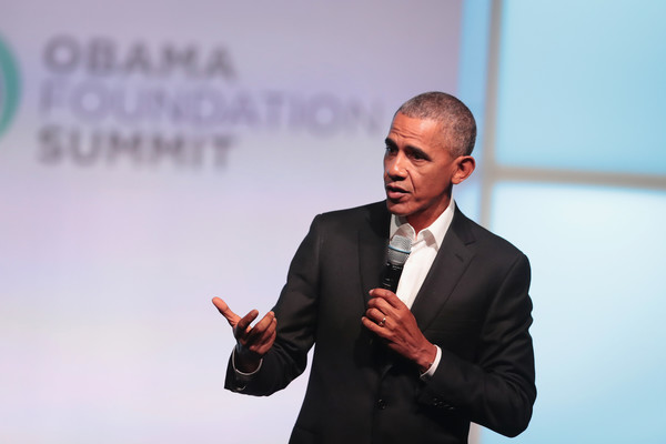 Former president Barack Obama speaks at the inaugural Obama Foundation Summit on October 31, 2017 in Chicago, Illinois.