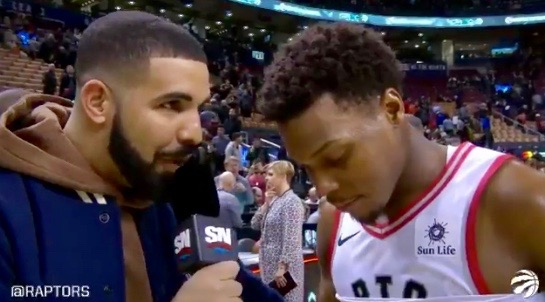 Drake (L) and Kyle Lowry