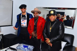 Ronnie DeVoe, Ricky Bell and Michael Bivens backstage at REVEL in Atlanta