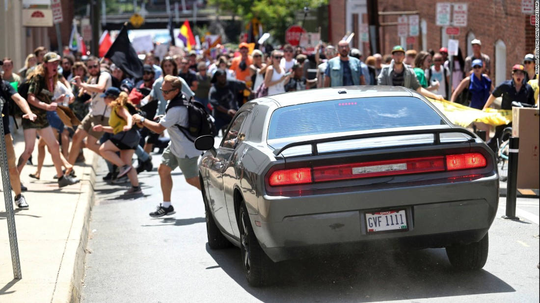 One dead, 19 injured, when this speeding car slammed into crowd of counter-protesters at white nationalist rally in Charlottesville