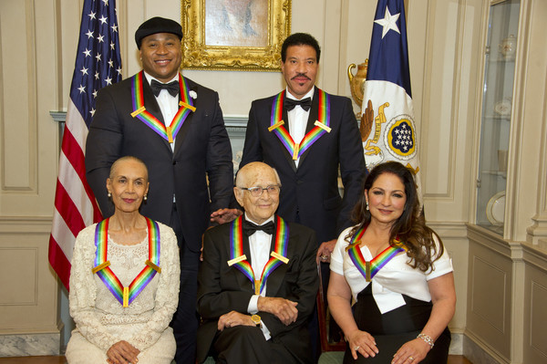 The five recipients of the 40th Annual Kennedy Center Honors pose for a group photo following a dinner hosted by United States Secretary of State Rex Tillerson in their honor at the US Department of State in Washington, D.C. on Saturday, December 2, 2017.