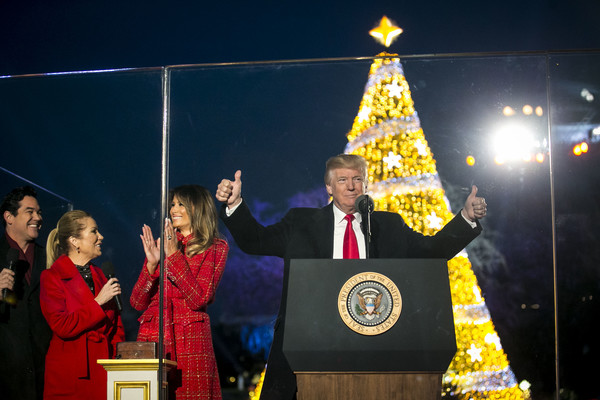U.S. President Donald Trump and first lady Melania Trump participate in the 95th annual national Christmas tree lighting ceremony held by the National Park Service on the Ellipse near the White House on November 30, 2017 in Washington, D.C.