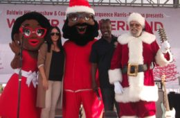 Rachel Freemand and Councilmember Marqueece Harris-Dawson and Santa-1
