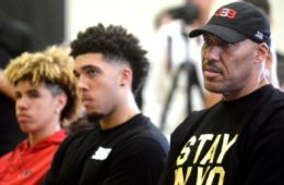 (L-R): LaMelo, LiAngelo and LaVar Ball